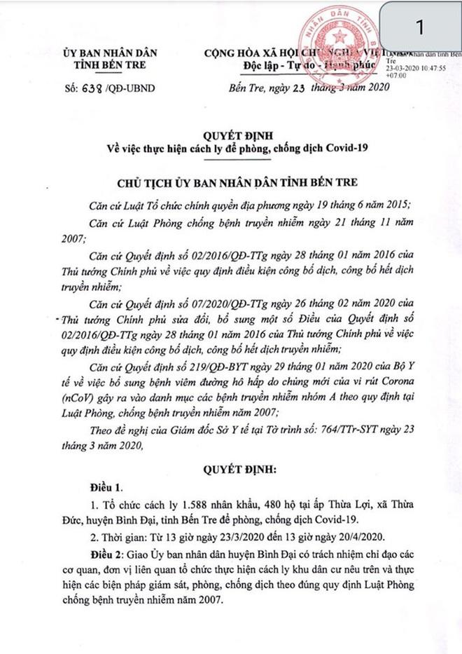 Bến Tre: Cách ly 1.588 người tại ấp Thừa Lợi sau khi phát hiện cô gái 17 tuổi nhiễm Covid-19 về từ Malaysia - Ảnh 1.