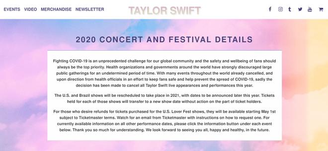 Taylor Swift huỷ bỏ tất cả các show diễn trong năm 2020, fan tiện thể cà khịa Justin Bieber vì huỷ show vì dịch chứ không phải vì ế vé? - Ảnh 1.