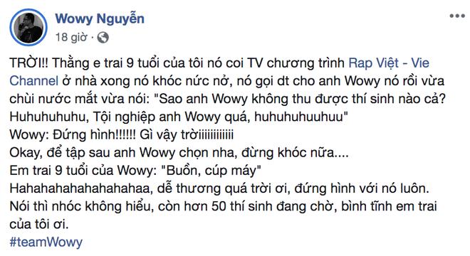 Em trai 9 tuổi của Wowy khóc nức nở khi anh mình không thu được thí sinh nào trong tập 1 Rap Việt - Ảnh 1.