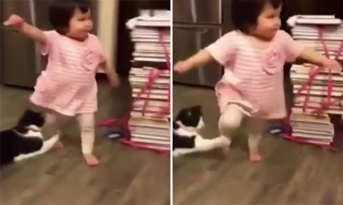 Chú mèo xấu tính thò chân ra ngáng khiến bé gái ngã sấp mặt