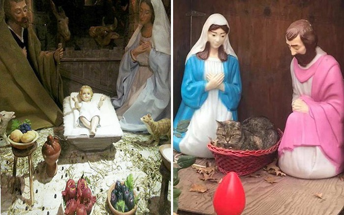 Chú mèo chễm chệ ngồi lên bàn thờ, đã thế mặt lại còn sưng sỉa