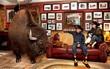 Chú trâu khổng lồ sống trong phòng riêng có hẳn tivi để cày phim hành động