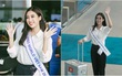 Hoa hậu Mỹ Linh diện trang phục đơn giản xuất hiện tại sân bay Tân Sơn Nhất, chính thức lên đường thi Miss World