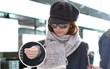 Lâm Tâm Như mặt mộc xuất hiện tại sân bay, khoe nhẫn cưới lấp lánh trên tay