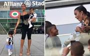 Georgina bồng bế hai con nhỏ đến sân, chứng kiến Ronaldo lập kỷ lục mới