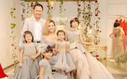 Lần đầu tiên, Vũ Thu Phương đưa hai con riêng của chồng đi sự kiện