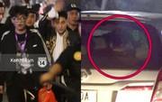 """Bị người hâm mộ bao vây, Sơn Tùng M-TP phải dùng tấm chắn nắng che mặt để """"trốn"""" fan"""