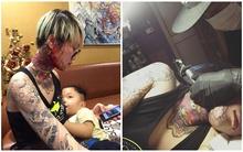 Bà mẹ trẻ gây sốc khi khoe hình xăm kỳ lân phủ kín từ cổ tới mặt