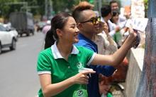 Văn Mai Hương ăn mặc giản dị tham gia bảo vệ môi trường