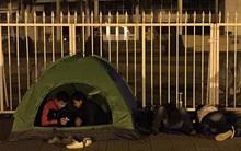 Mặc đêm lạnh, cặp đôi vẫn dựng lều trước sân Mỹ Đình chờ mua vé xem tuyển Việt Nam thi đấu