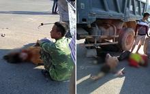 Nam thanh niên chở hai cô gái bị xe tải cuốn vào gầm
