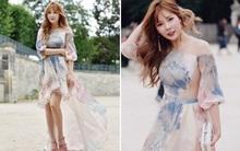 Hyuna lần đầu diện đầm công chúa tham dự Tuần lễ thời trang Haute Couture tại Paris