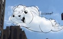 Họa sĩ vẽ tranh hoạt hình lên những đám mây