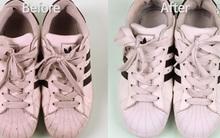 """Cứ ngâm giày vào dung dịch """"thần thánh"""" này, bẩn cỡ nào cũng trắng tinh như mới"""