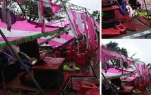 Hình ảnh rạp cưới của đôi bạn trẻ Nghệ An bị bão đánh sập trong đêm khiến dân mạng xót xa