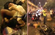 Hà Nội: Chồng chở vợ mang bầu bị hai thanh niên say xỉn tông trúng, 4 người bị thương nặng