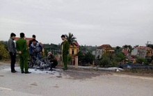 Hưng Yên: Xe máy bất ngờ bốc cháy chủ xe chỉ biết thất thần ngồi khóc