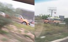 Ô tô Ford Ranger thản nhiên phi ngược chiều ầm ầm trên đường cao tốc Hà Nội - Bắc Giang