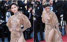 Ngọc Thanh Tâm gợi cảm, suýt hớ hênh vì vén váy quá đà tại thảm đỏ LHP Cannes