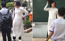 Thầy giáo Tây đội tóc giả, mặc áo dài hoá trang làm cô giáo cực đáng yêu