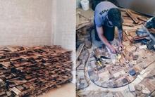 Thu thập các mảnh gỗ vụn bỏ đi, người đàn ông biến sàn nhà thành một tác phẩm nghệ thuật đẹp ngỡ ngàng