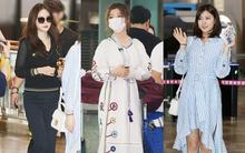 """Kim Yoo Jung bỗng xuất hiện với tay bó bột, """"nàng thơ của PSY"""" Naeun gây chú ý tại sân bay"""