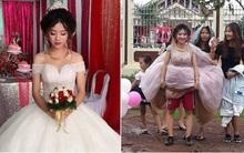 """Cô dâu """"chất"""" nhất trước đến nay: Mặc quần đùi đá bóng phía trong váy cưới và đi giầy thể thao"""
