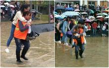 Sinh viên Trung Quốc gây tranh cãi vì để các nữ nhân viên vệ sinh lớn tuổi cõng qua chỗ lội