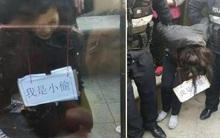 """Trộm xe đạp điện, người phụ nữ Trung Quốc bị làm nhục bằng cách đeo tấm biển """"tôi là kẻ trộm"""""""