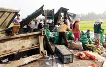 Xe container bị lật, dân Bình Định lao vào gom 30 tấn trái cây giúp tài xế