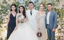 """Minh Hằng khoe vai trần, dẫn đầu đội """"gà chiến The Face"""" đến chúc mừng đám cưới học trò Xuân Phúc"""
