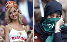 Hình ảnh thú vị trong trận khai mạc World Cup 2018: Nữ cổ động viên Nga ăn mặc gợi cảm, các cô gái Arab-Saudi vẫn trùm khăn kín mít như ngày thường