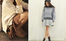 """Mặc xinh ngày se lạnh với """"bộ đôi"""" áo len - chân váy xòe"""