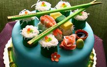 Bánh gato mini trong dáng sushi đẹp mắt