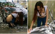 """Dư luận châu Á sốc với bức ảnh thiếu nữ """"hở trọn vòng 3"""" khi chăm chú rửa xe"""