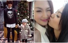 Mi Vân và con gái siêu cute đón Giáng sinh, Hồng Quế thơm má Kelly