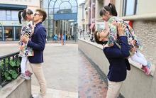 Cựu hot boy thể thao Trung Quốc ôm hôn con gái cực tình cảm trên phố