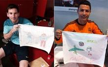 Messi và Ronaldo chung tay vẽ tranh làm từ thiện