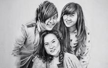 Xúc động ký họa nụ cười của Wanbi Tuấn Anh bên mẹ và em gái