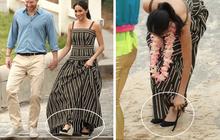 Diện váy kẻ cực trẻ trung nhưng Meghan Markle lại mắc sai lầm khi diện đôi giày này