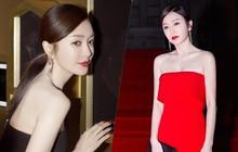 """""""Hoàng Hậu"""" Tần Lam khoe sắc vóc ngọc ngà, vòng 1 e ấp tại thảm đỏ sự kiện Hàn Quốc"""