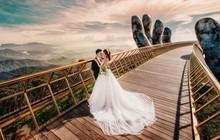 """Cây cầu Vàng Đà Nẵng thu hút hàng nghìn cặp đôi """"đổ xô"""" về chụp ảnh cưới"""