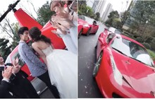 Lác mắt với đám cưới Rich Kid: Đón dâu bằng trực thăng, 8 chiếc Ferrari đỏ chói theo sau hộ tống