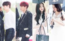 """Cực phẩm dưới mưa: Jung Chae Yeon đẹp lộng lẫy cùng I.O.I, dàn hoàng tử Wanna One đến ủng hộ """"Produce 48"""""""