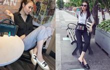 Ngại cao hơn Cường Đôla hay sao mà Đàm Thu Trang chỉ chuyên đi giày/dép bệt