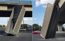 Câu chuyện nước Úc: Một chiếc thùng container nằm dựng đứng giữa đường mà không ai hiểu sao tài xế làm được như vậy