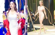 Ngọc Trinh và Hương Giang mải miết tập catwalk trên đôi giày cao 20cm cho show của NTK Đỗ Long