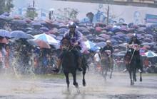 Bất chấp cơn mưa tầm tã, gần 50.000 lượt người đội mưa xem đua ngựa ở Bắc Hà