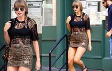 """Diện váy siêu ngắn, Taylor Swift làm fan nơm nớp lo cô bị """"lộ hàng"""" khi bước xuống bậc thang"""