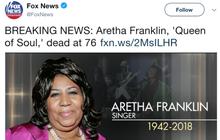 Hãng thông tấn Mỹ đăng tin danh ca Aretha Franklin qua đời nhưng dùng nhầm ảnh ca sĩ khác vẫn còn sống